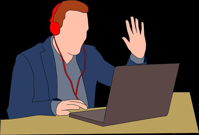 muž při videokonferenci