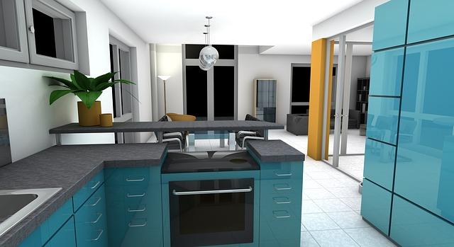 Kuchyň v barvě modrý lesk